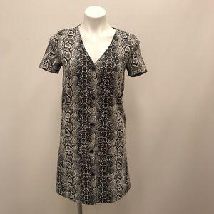 MNG Snakeskin Print Faux Button Down Fall Dress